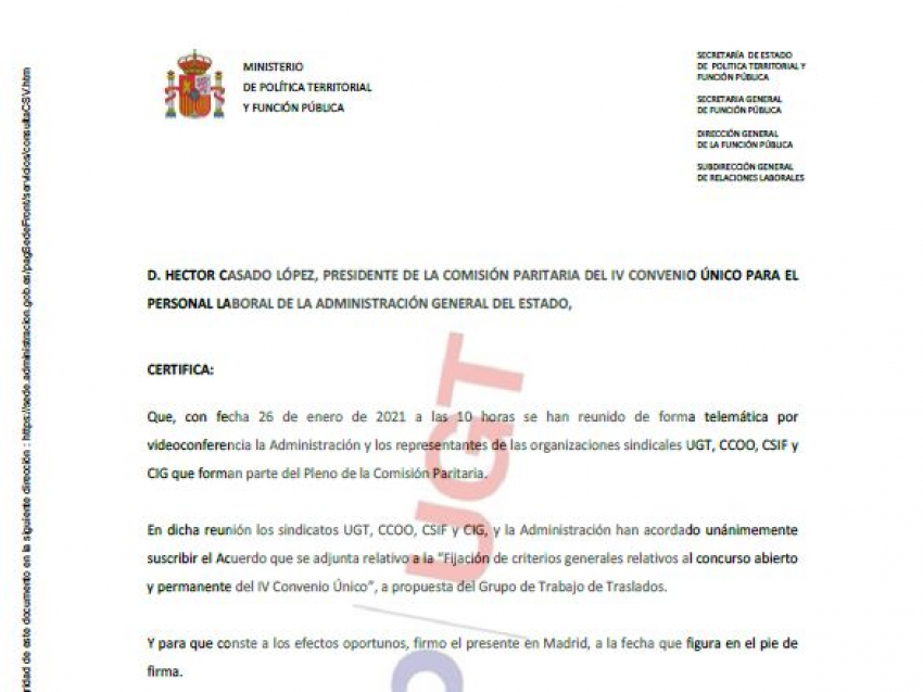 P. Laboral.- Acuerdo Criterios Generales del Concurso Abierto y Permanente