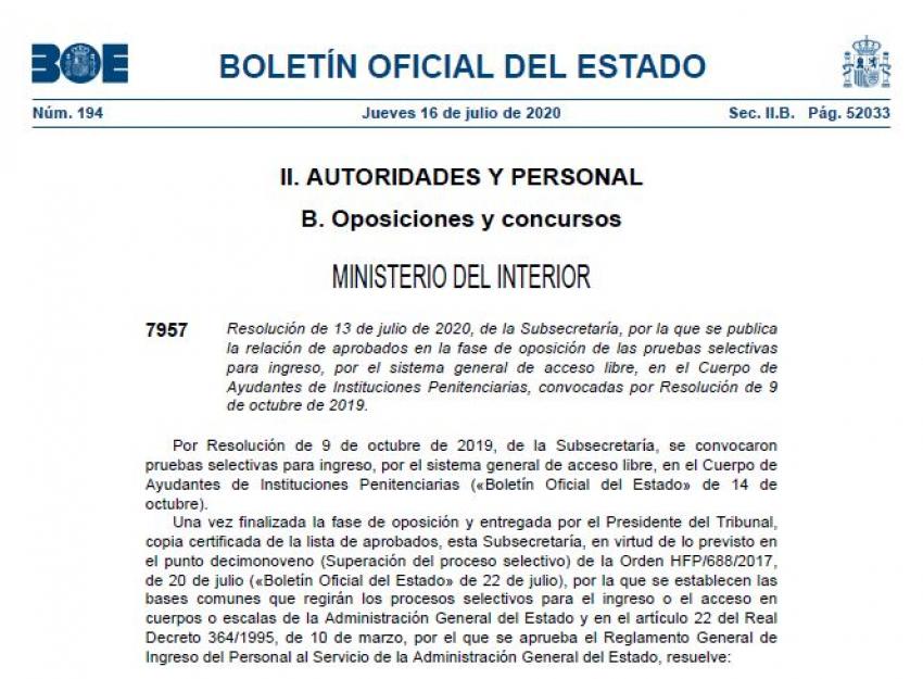 Aprobados definitivos OEP 2019 Ayudantes Prisiones - Elección de centros