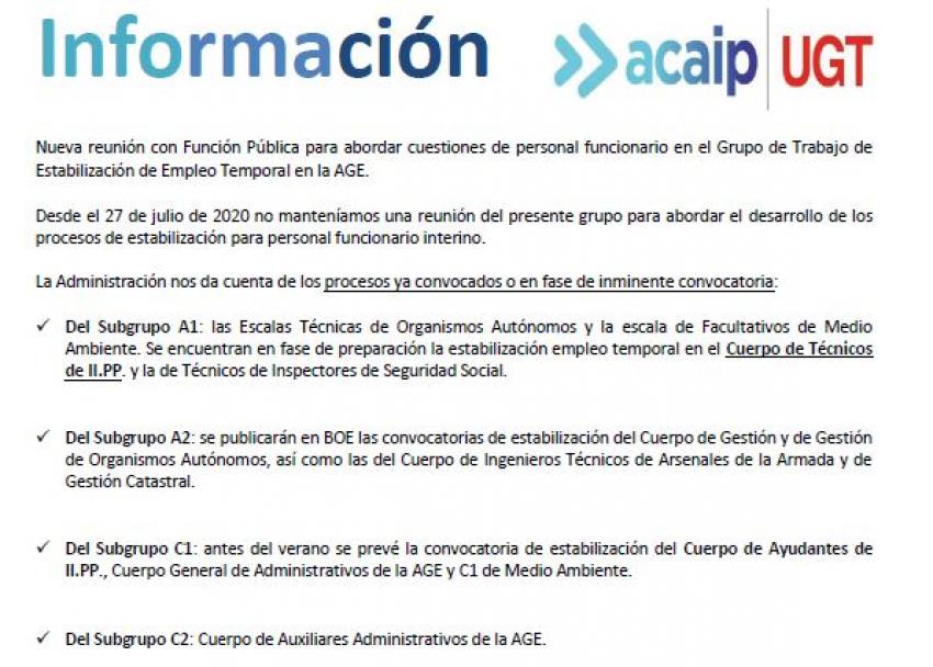 P. Laboral.- Grupo de Trabajo de Estabilización y Empleo Temporal del la AGE.
