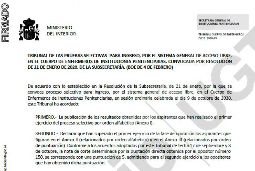Resolucción oposiciones Enfermeria II.PP.- Convocatoria segundo examen
