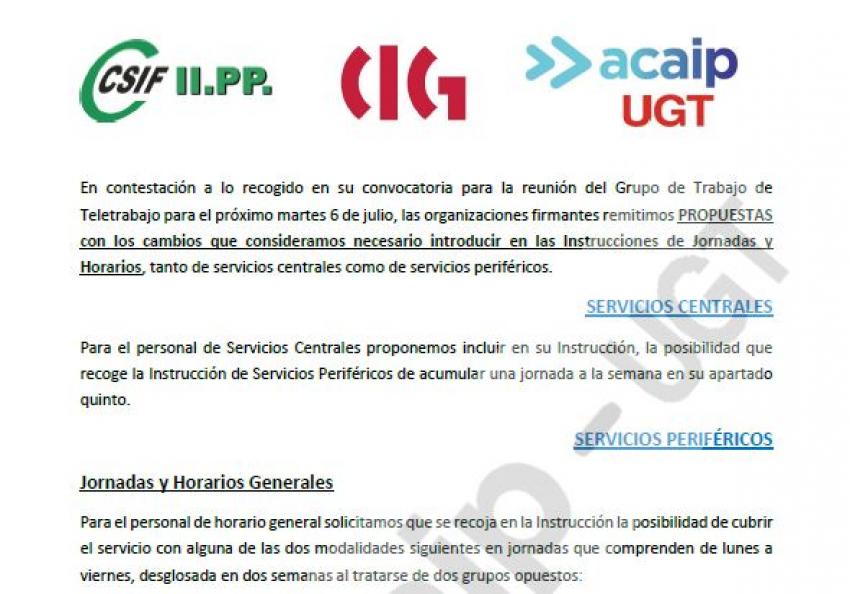Propuesta sindical sobre nuevos horarios en II.PP