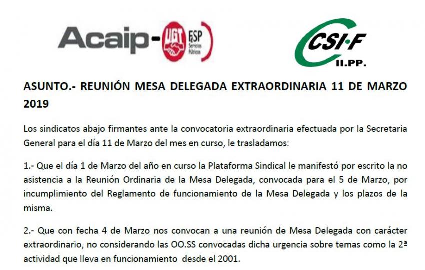 Acaip-Ugt y Csif no asistiran a la reunión convocada del dia 11 de marzo