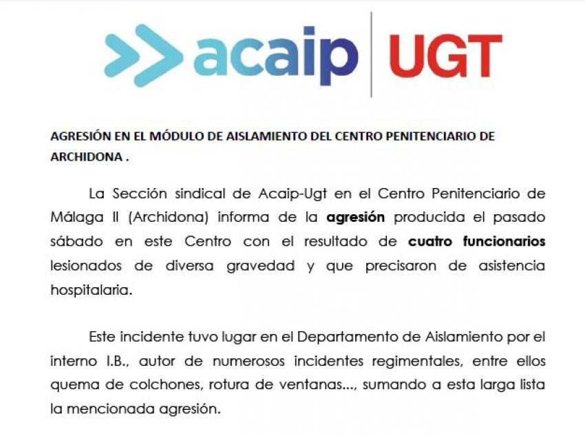 Cuatros funcionarios lesionados en C.P Málaga II