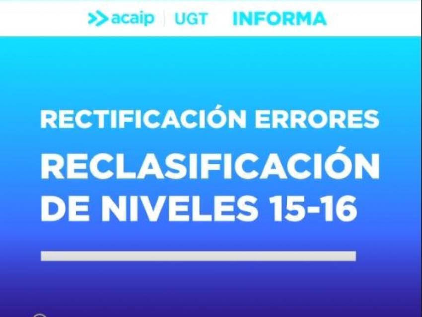 Rectificacíón CECIR errores niveles