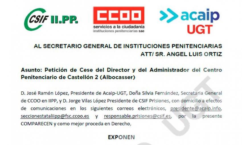Solicitud de cese del director y Administrador CP Albocasser