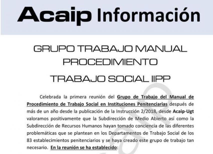 Grupo de trabajo manual de procedimiento de trabajadores Sociales