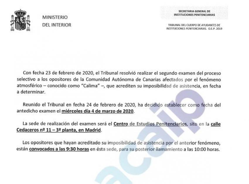 Convocatoria segundo examen afectados opositores de Canarias