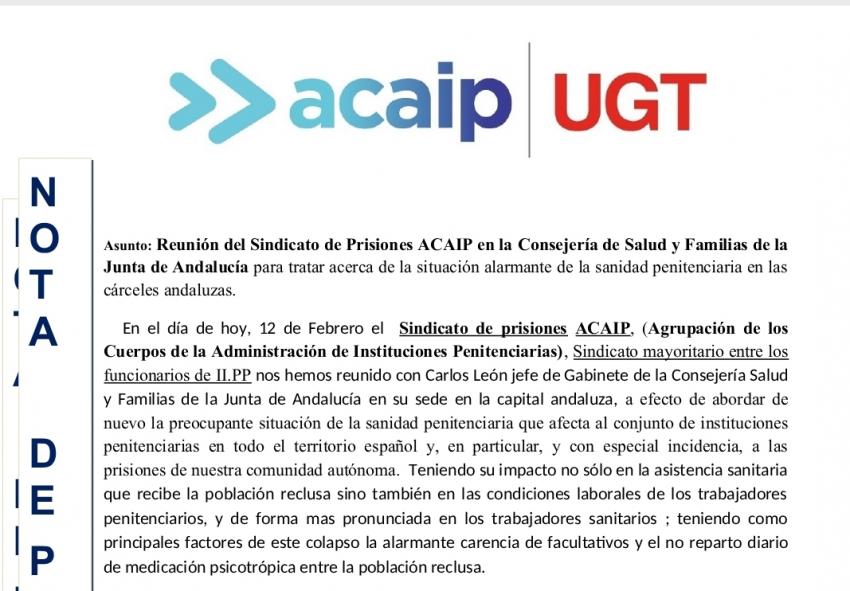 Reunion con Consejeria de Salud de la Junta de Andalucia