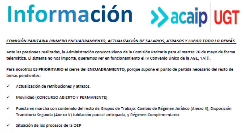 P. Laboral.- Información comisión paritaria