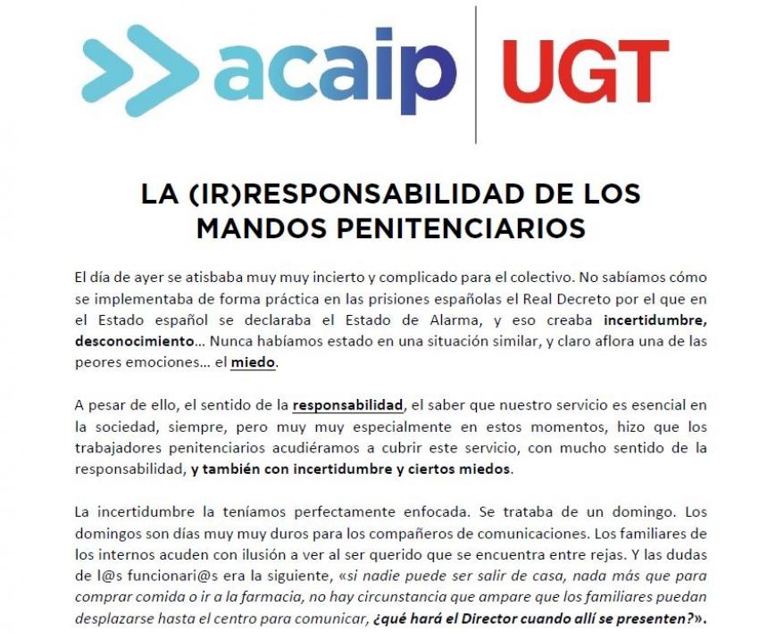 LA (IR)RESPONSABILIDAD DE LOS MANDOS PENITENCIARIOS