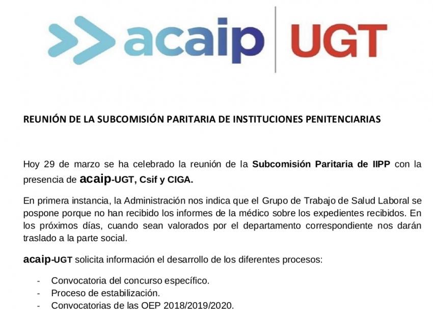 P. Laboral.- Reunión subcomisión paritaria II.PP