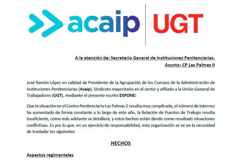 Queja presentada ante el SGIIPP por la situación de las Palmas 2