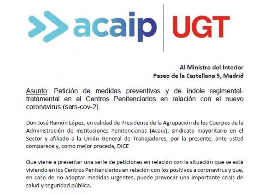 Acaip-Ugt solicita medidas urgentes al Ministro del Interior y Sanidad