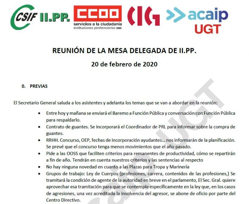 Comunicado reunión mesa delegada II.PP (20/02/20)
