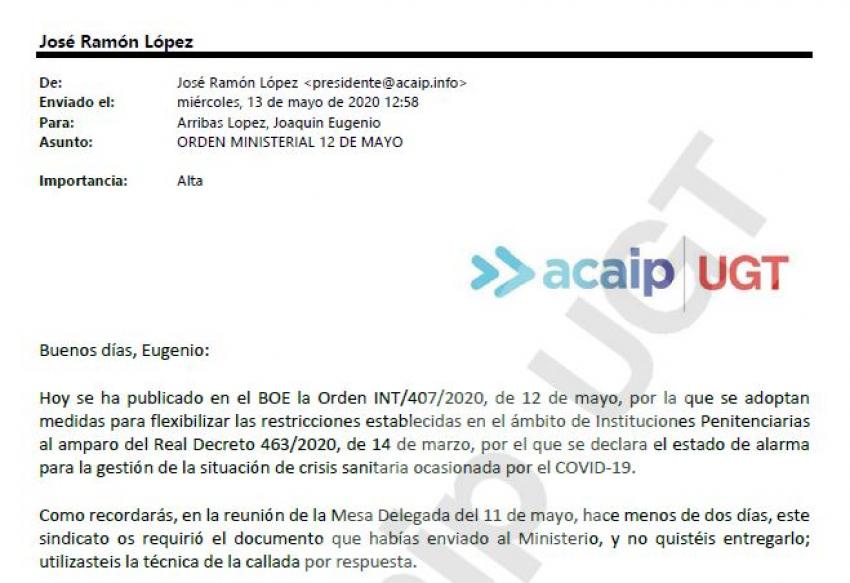 ACAIP-UGT envia email de QUEJA al Sub. Gral de RRHH
