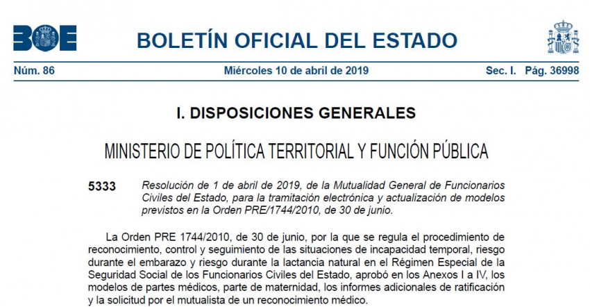 Resolución de 1 de abril de 2019, de la Mutualidad General de Funcionarios Civiles del Estado, para la tramitación electrónica y actualización de modelos previstos en la Orden PRE/1744/2010, de 30 de junio.