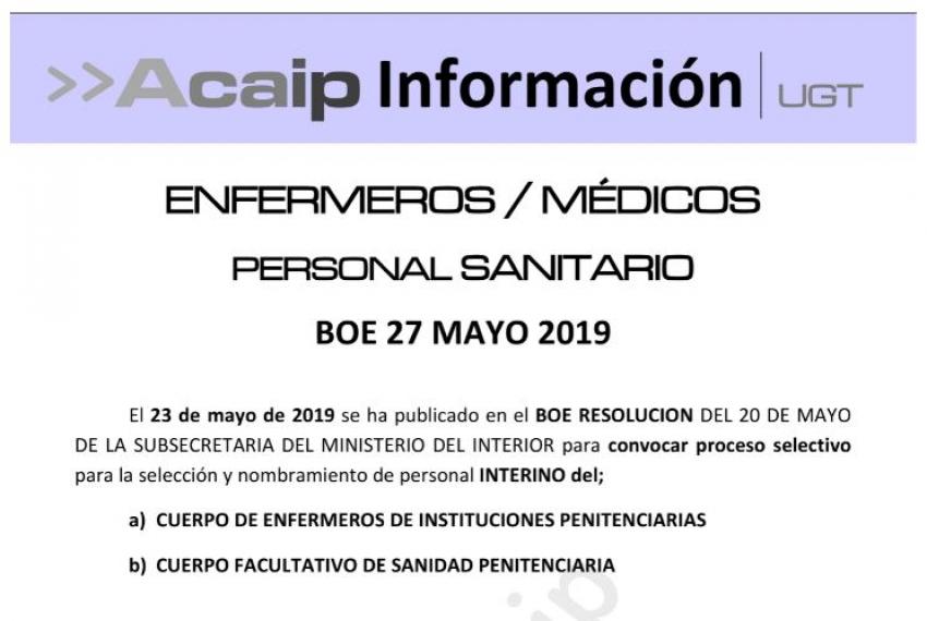 Convocatoria seleccion interinos Cuerpo facultativo y de enfermeros de II.PP