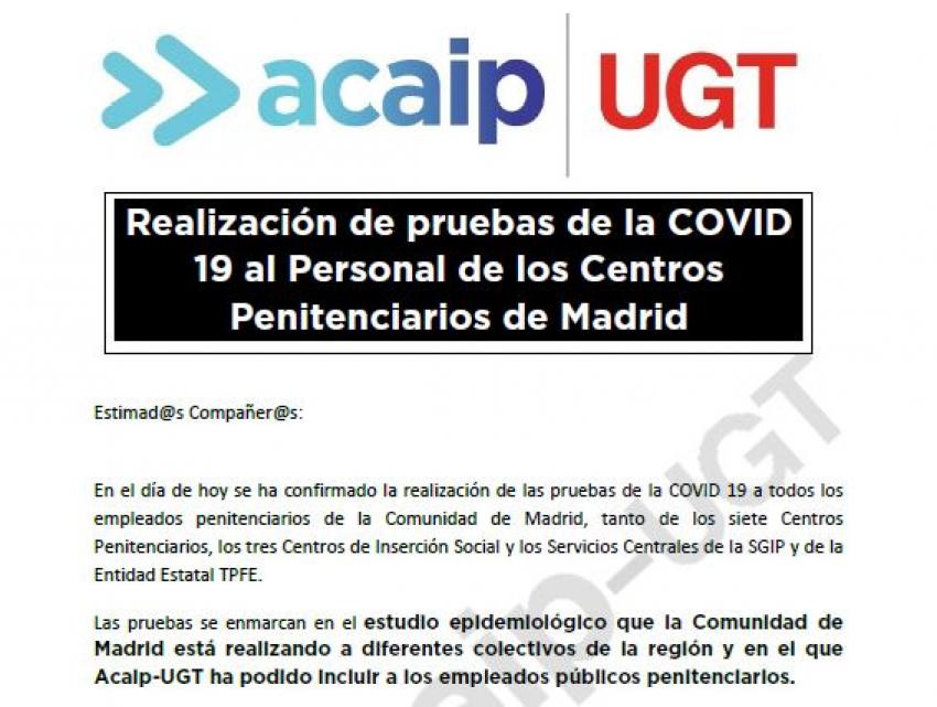 Realización pruebas COVID 19 Personal centros penitenciarios de Madrid
