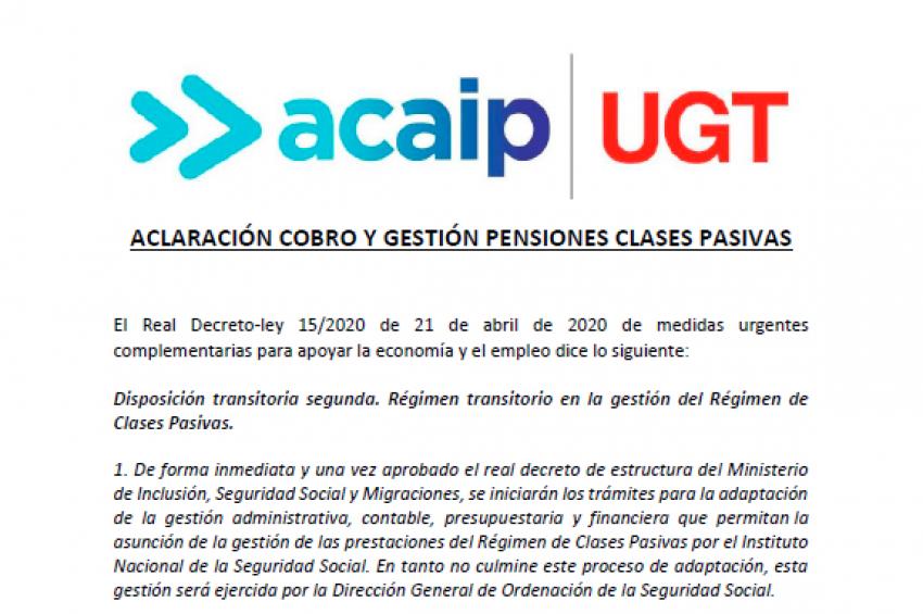ACLARACIÓN COBRO Y GESTIÓN PENSIONES CLASES PASIVAS