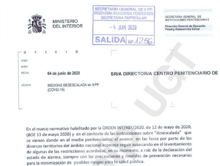 Instrucciones medidas desescalada en II.PP (04/06/20)