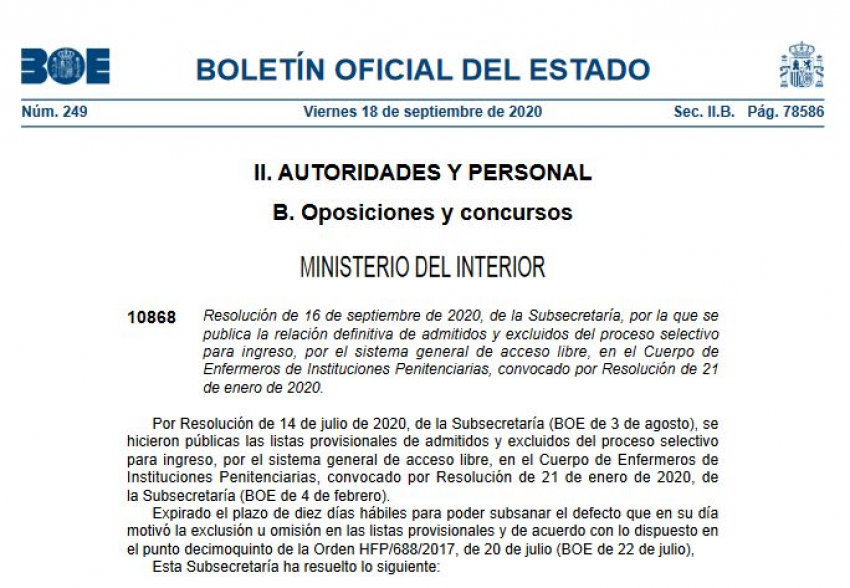 Listados admitidos-excluidos proceso selectivo enfermeros II.PP