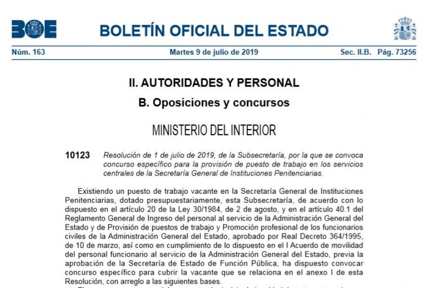 Convocatoria concurso traslados servicios centrales SGIIPP