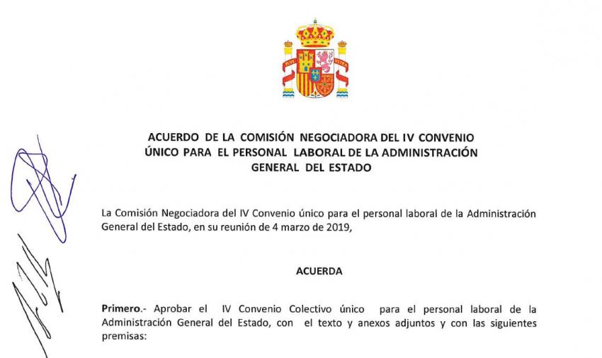 Acuerdo comision negociadora IV convenio personal laboral