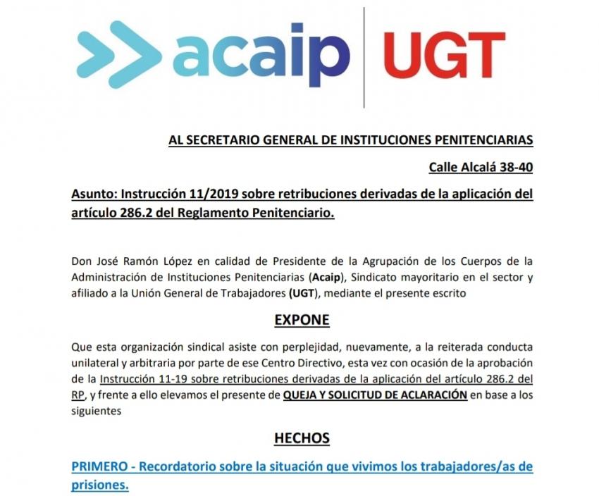 QUEJA ante Instrucción 11/2019.
