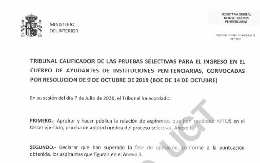 Resolucion tribunal tercer ejercicio y desempate ayudantes OEP 2019