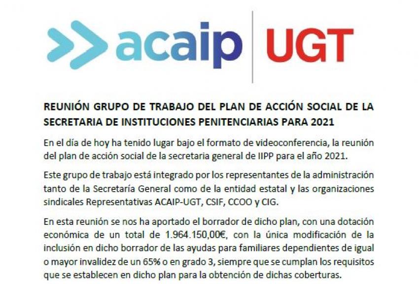 Comunicado reunión plan acción social 2021