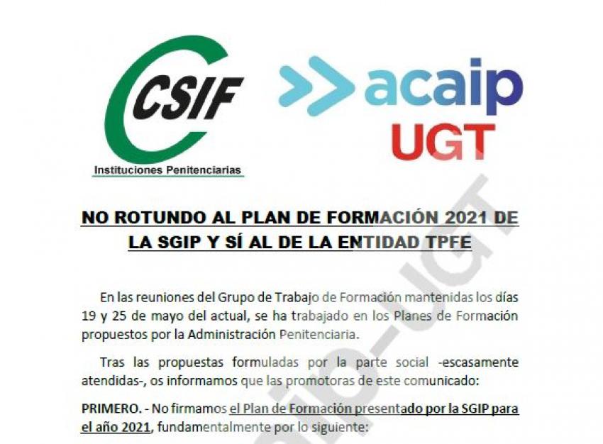 NO rotundo al Plan de Formación de la SGIIPP para el año 2021