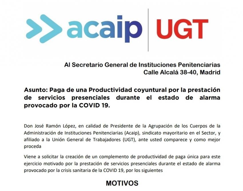 ACAIP-UGT solicita paga de productividad coyuntural