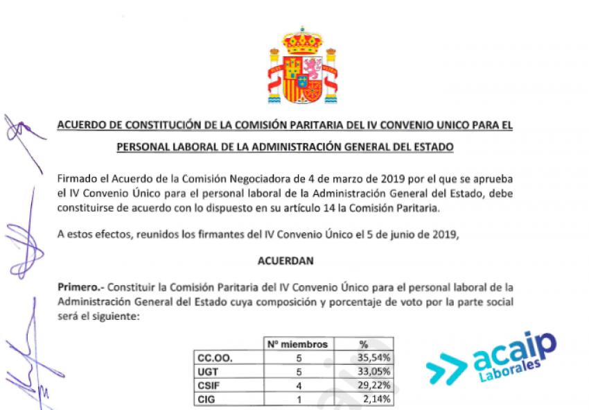 Comisión paritaria IV Convenio Único Personal Laboral