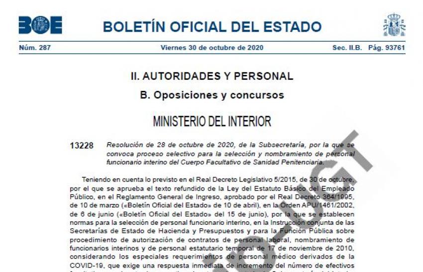 Convocatoria proceso selectivo facultativos interinos de II.PP
