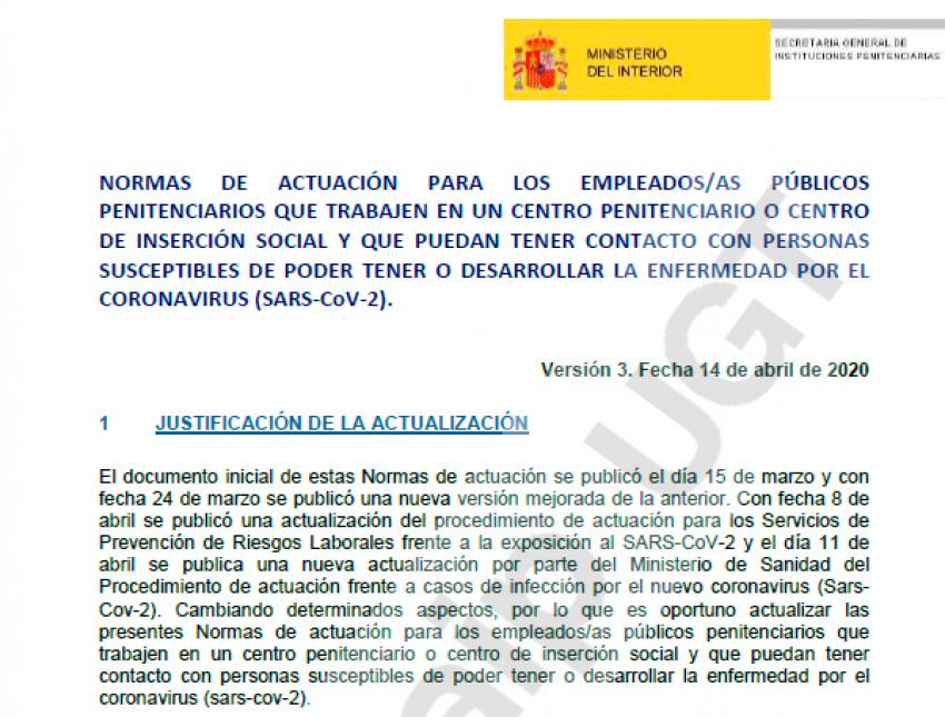 Normas actuación en Instituciones Penitenciarias frente al coronavirus (14/07/20)