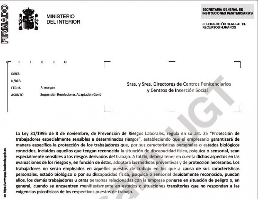 Suspendidas resoluciones por covid a partir 1 septiembre