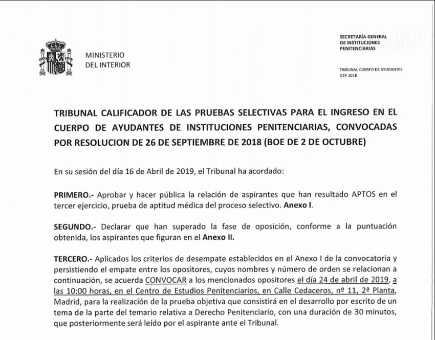 Resolucion tribunal aprobados prueba medica Ayudantes