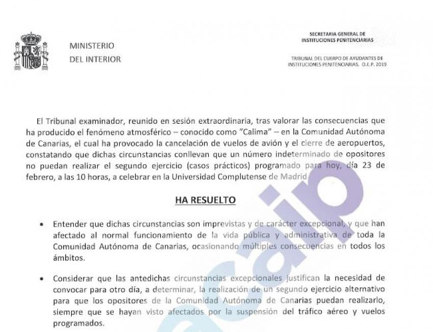 Resolución del tribunal sobre opositores canarios