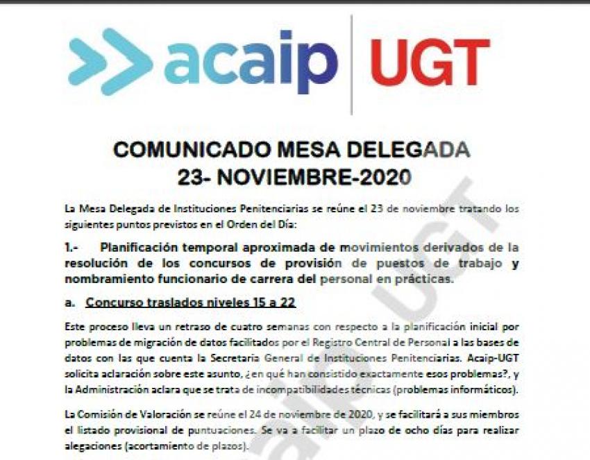 Comunicado reunión Mesa Delegada II.PP (23/11/20)