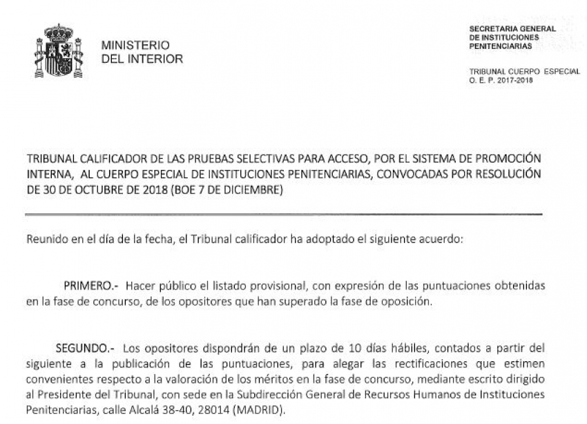 Puntuaciones de meritos obtenidos Cuerpo Especial de II.PP
