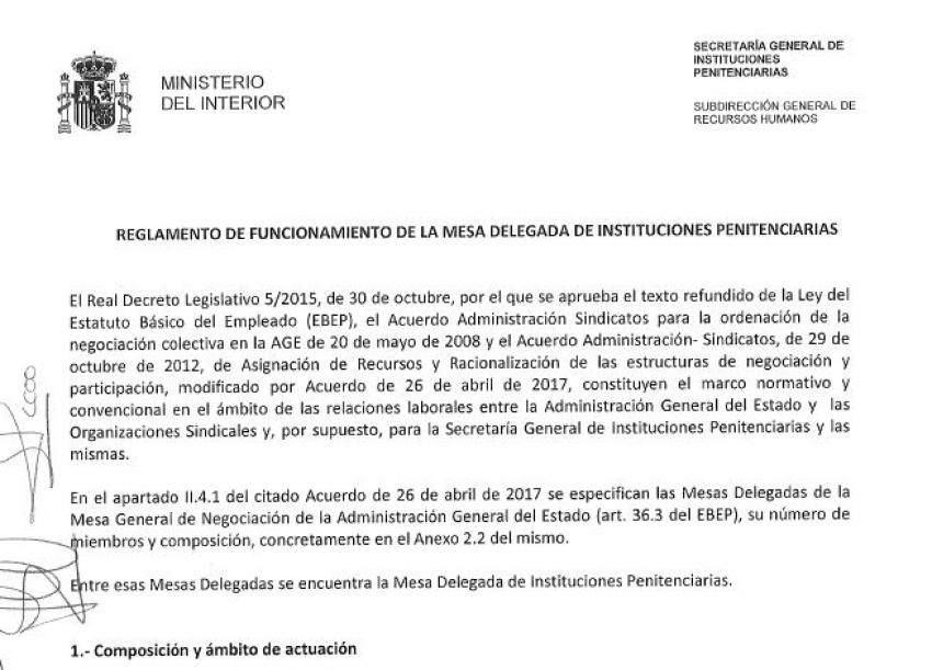 Nuevo reglamento de la Mesa Delegada de II.PP
