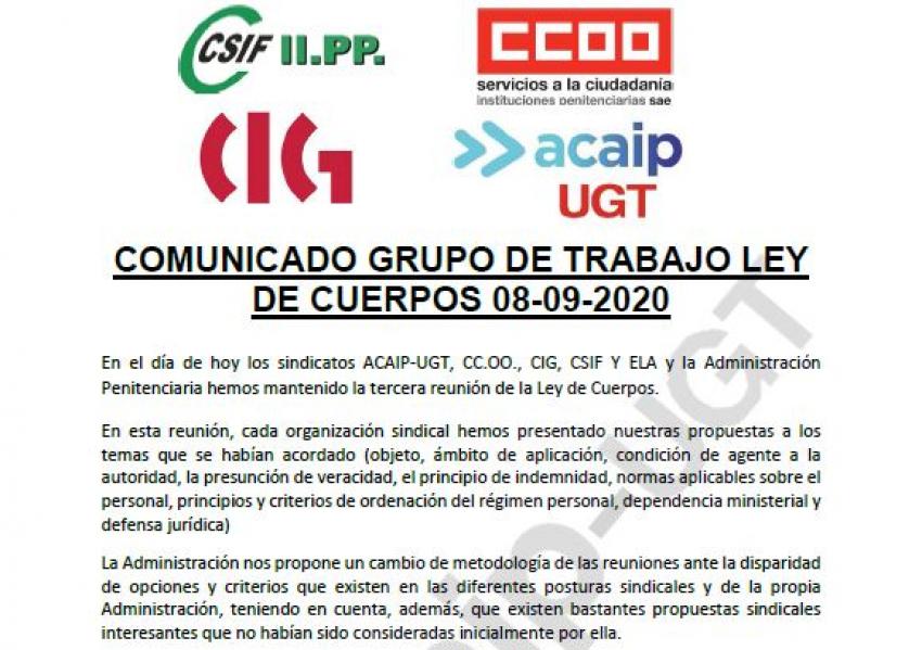 """Reunión negociación """"Ley de Cuerpos"""" (8/09/20)"""