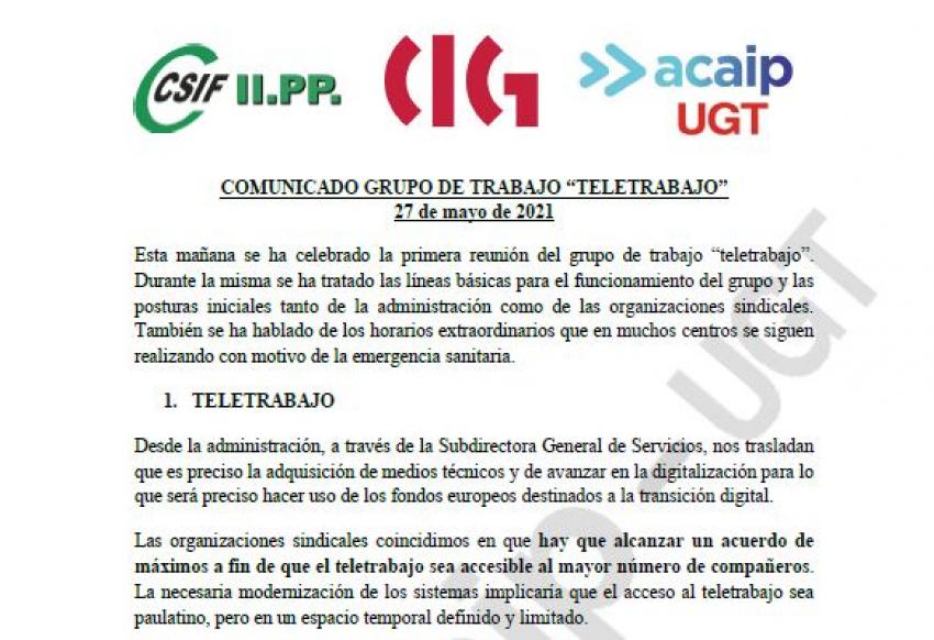 """Comunicado primera reunión grupo """"Teletrabajo"""""""