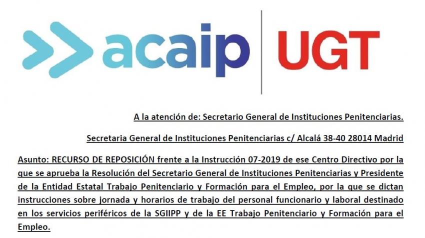 RECURSO DE REPOSICIÓN frente a la Instrucción 07-2019 de jornadas y horarios