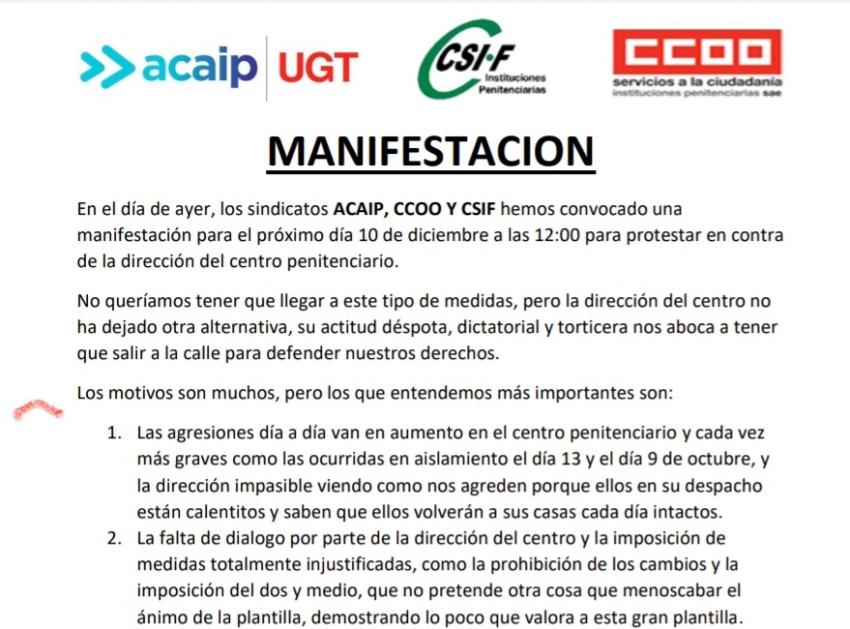 Convocatoria manifestación en Albocasser