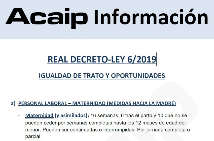 Entrada en vigor REAL DECRETO-LEY 6/2019