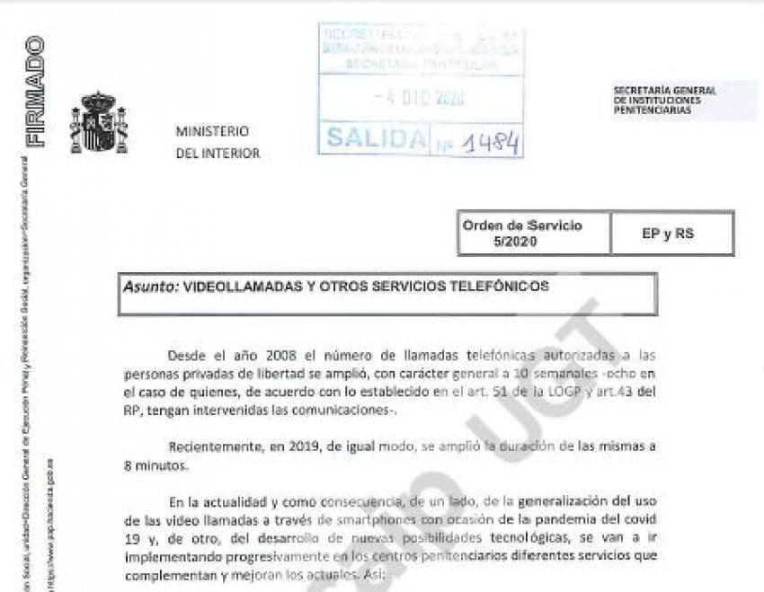 Orden de servicio VIDEOLLAMADAS/Servicios telefónicos