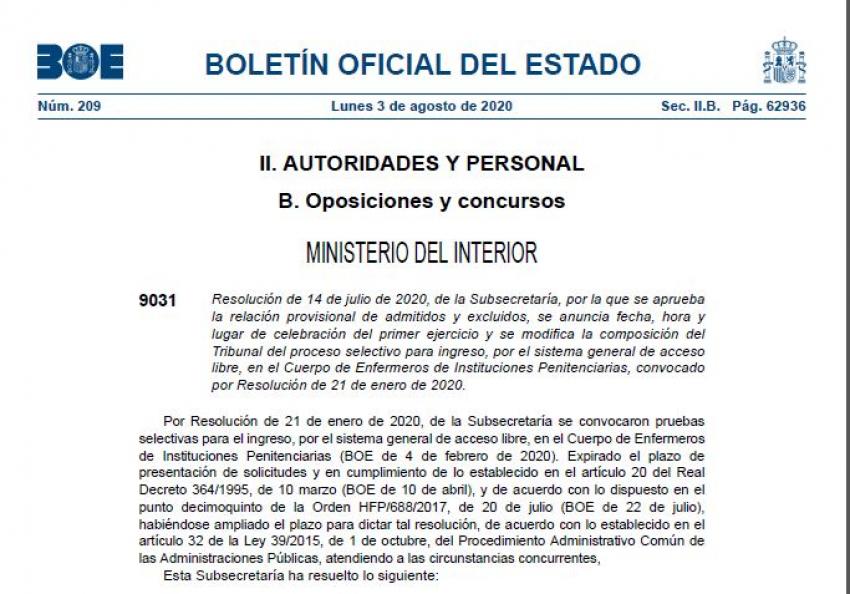 Publicación BOE admitidos-excluidos enfermeros OEP 2020