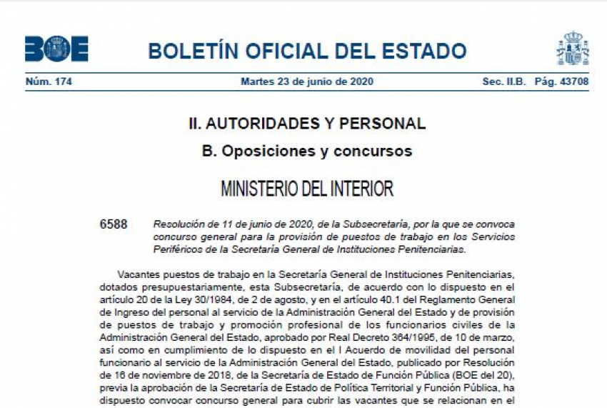 Convocado concurso de traslados general en IIPP