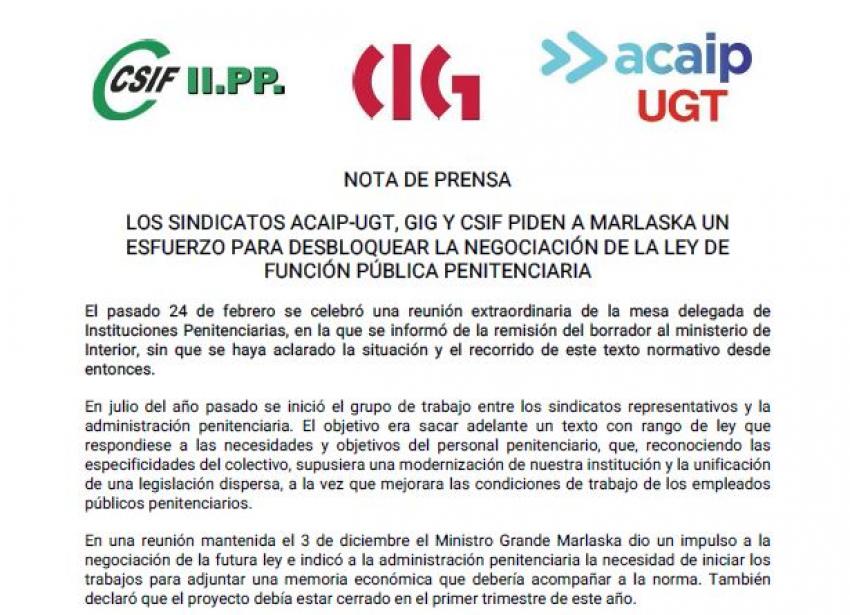 ACAIP-UGT, CSIF y CIG solicitan la intermediación de Marlaska
